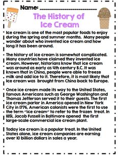 The history of ice cream reading passage part of spring math and ela packet for 2nd grade! common core aligned