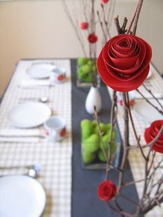 DIY paper flower and branch centerpieces | Decor Darling - DIY: Paper Flower Centerpiece