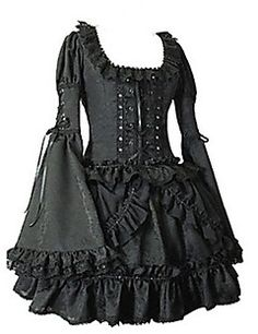 Lange Flare Short Sleeve Black Cotton Gothic Lolita Kleid