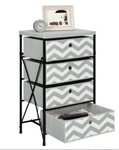 4-bin Storage Chest Dresser Night Stand Toy Box Stylish Table Collapsible Black
