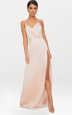 4885675e86 Lucie Champagne Silky Plunge Extreme Split Maxi Dress