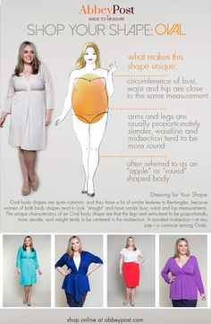 To balance out an Oval shape, draw attention upward by wearing V neck and scoop necklines. Create an hourglass illusion by wearing A line and empire waist dresses. Most Ovals do best when they choose clean lines and avoid wearing belted styles or dresses that have a seam right at the waist. Don't be shy--flaunt those great looking arms and legs by customizing your outfits with shorter hemlines and cap sleeves!