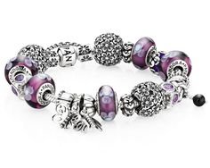 Purple murano charms and beautiful dangle butterflies #PANDORAbracelet #butterfly