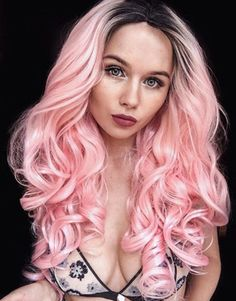 Preferced Pink Ombre Wave Human Hair for Halloween Lace Front Wigs Colorful Cosplay Daily Party Wig for Women inches, density) Pastel Pink Hair, Pink Wig, Pretty Pastel, Pastel Goth, Hair Color Dark, Dark Hair, Hair Colour, Synthetic Lace Front Wigs, Synthetic Hair