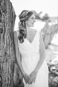 Bridal portrait in black and white. Pacific Grove beach wedding near Monterey. Beach wedding dress. Photography by Kept In Time Photography.