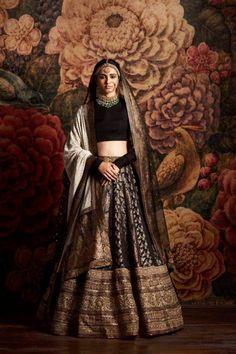 Sabyasachi 2016 bridal collection-Sabyasachi collection 2016 for brides and grooms black lehenga Indian Bridal Outfits, Indian Bridal Wear, Indian Designer Outfits, Indian Dresses, Bridal Dresses, Indian Wear, Indian Clothes, Desi Clothes, Pakistani Outfits