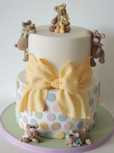 Teddies, Polka Dots & Bow Baby Shower Cake By mrsvb78 - (cakecentral)