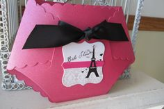 French Paris Inspired Baby Diaper Die Cut by BeautifullyInviting, $2.50. The diaper shape is adorable and pink/black Parisian theme would be SO cute for a baby girl shower!