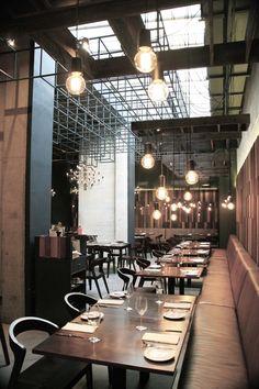 Restaurante Quitral (fuego/Mapudungún). Santiago de Chile. Enzo Anziani, Estudio de Arquitectura y Diseño.  enzoanziani.com