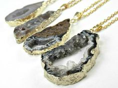 Gold Edged Agate Geode Necklace – Rose and Rabbit Designs