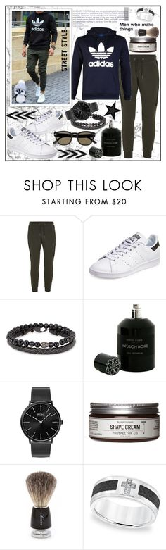 """MEN'S SPORT LOOK!!!"" by kskafida ❤ liked on Polyvore featuring Topman, adidas, Simon Carter, Hervé Gambs, HUGO, Prospector Co., Baxter of California, Cambridge Jewelry, Tom Ford and men's fashion"