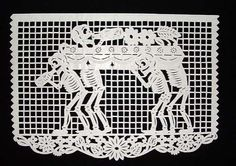 """""""In Mexico, papel picado (perforated paper), refers to the traditional art of decorative cut paper banners. Papel picado are usually cut w. Day Of The Dead Drawing, Mexico Day Of The Dead, Living Dead Dolls, Paper Banners, Baby Shower, Scrapbook Sketches, Sacred Art, Skull And Bones, Typography Poster"""