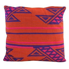 Handmade Square Jacquard 18-inch Cotton Throw Pillow (India)