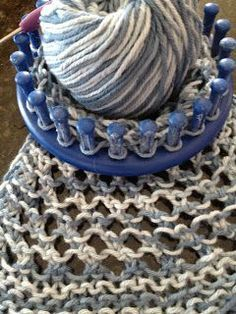 Off the Loom: lace practice This lace pattern is turning out nicely which includes a and yo (yarn over) sequence. Round Loom Knitting, Loom Knitting Stitches, Spool Knitting, Knifty Knitter, Loom Knitting Projects, Knitting Tutorials, Cross Stitches, Knitting Machine, Vintage Knitting
