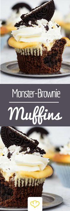 Große Wirkung mit wenig Aufwand? Dann sind Monster Brownie Muffins von Törtchen Herzog genau das Richtige für dich!