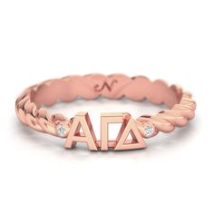 Alpha Gamma Delta Rose Gold Pave Twist Letter Ring