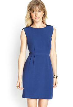 Love 21 - A knit sleeveless sheath dress featuring layered detailing at the shoulders and a pleat...