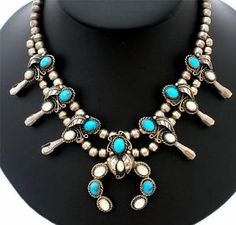 Sterling Silver Squash Blossom Necklace MOP Turquoise Vintage Naja Hogan Beads   eBay