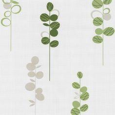 Novara wallpaper 13080-90 non-woven wallpaper retro flower green Wallpapers P+S International Novara