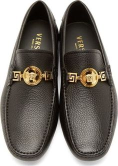 Versace Black Grained Leather Loafers Versace Loafers, Versace Sneakers  Men, Versace Jacket, Versace 73b87cccadc