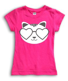 Fuchsia 'Cat Shades' Fitted Tee - Toddler & Girls