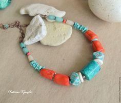 """Купить Колье """"Кипр. Из пены морской"""" - морская тема, морской стиль, бирюзовый, коралловый"""