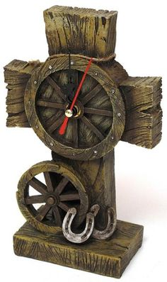 Western Cross Clock - would love for my fireplace mantel to go with my western décor living area Western Décor, Rustic Western Decor, Western Homes, Western Style, Western Wear, Westerns, Old Rugged Cross, Father Time, Cool Clocks