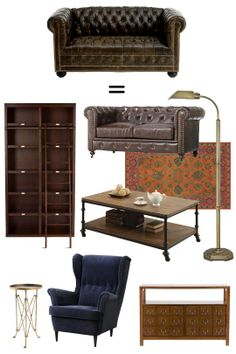 Collectible or Complete Room? Chesterfield Sofa = Library Living Room
