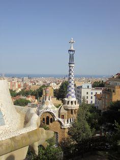 View to the Mediterranean Sea from Antonio Gaudí's park Güell Barcelona, Catalonia, Spain