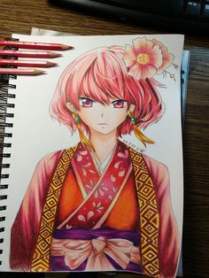 Akatsuki no Yona-- Yona Drawing by on DeviantArt Art Sketches, Art Drawings, How To Tie Ribbon, Himiko Toga, Anime Art Girl, Akatsuki, Clay Crafts, Fan Art, Animation