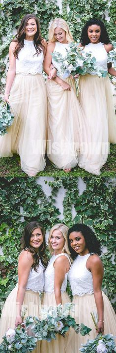 2 Pices Charming Lace Top Tulle Cheap Long Wedding Bridesmaid Dresses, WG468