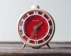 Soviet Vintage Alarm Clock Working Alarm Clock by OldTimeStories Red Clock, Blue Clocks, Vintage Alarm Clocks, Tic Toc, Time Clock, Product Design, Metal, Glass, Clock