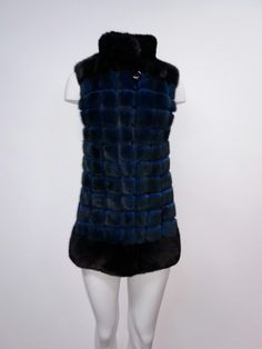 Black and blue plaid mink fur vest