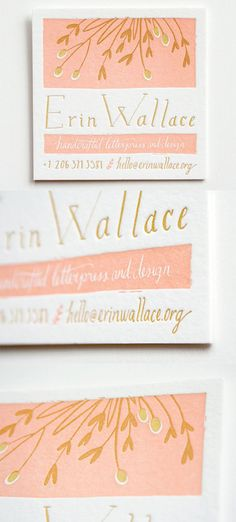 Beautiful Boutique Letterpress Printed Business Card Design