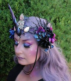 Your place to buy and sell all things handmade Galaxy Makeup / Galaxy Unicorn Crown by On Gossamer Wings Unicorn Halloween Costume, Halloween Make Up, Dark Unicorn Costume, Halloween Costumes, Unicorn Tail, Unicorn Wings, Unicorn Outfit, Diy Costumes, Cosplay Costumes