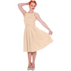 Be transformed into a rebellious rockabilly chick with our timeless swing dress. This beautiful fifties frock features a flattering fitted bodice, simple curved neckline, classic polka dot print and a luxurious full circle swinging skirt. 1950s Swing Dress, Polka Dot Print, Fitted Bodice, Frocks, Lol, Beige, Retro, Stylish, Skirts