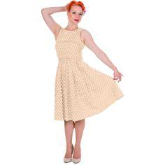 Šaty Dolly and Dotty Lola Beige Polka Puntíkaté krásky, kterým se prostě neříká ne, navíc za báječnou cenu! Skvělý model vhodný na retro večírek či běžné nošení. Střih ve stylu Audrey s lodičkovým výstřihem, projmuté v pase s rozšířenou sukní s pravidelnými sklady, zapínání na krytý zip v zadní části, součástí pásek se sponou potaženou látkou ve stejném vzoru. Velmi příjemný, lehčí materiál (95% bavlna, 5% elastan), díky kterému se dobře nosí a jsou velice pohodlné. Široká sukně vybízí k…