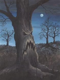Halloween tree~This is groot, love it! Halloween Artwork, Halloween Painting, Halloween Prints, Halloween Trees, Halloween Images, Halloween Horror, Halloween Cards, Holidays Halloween, Vintage Halloween