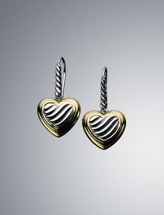 Cable Heart Drop Earrings
