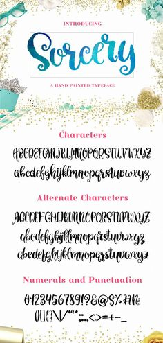 Sorcery is a cute script font perfect for shirts, logo design, branding and Cricut projects. #scriptfont #fonts #branding #cricut Handwritten Fonts, Calligraphy Fonts, Typography Fonts, Script Fonts, New Fonts, Hand Lettering, Romantic Fonts, Beautiful Lettering, Brush Script