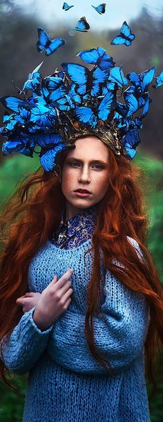 Blue butterfly headdress - Photograph by Margarita Kareva