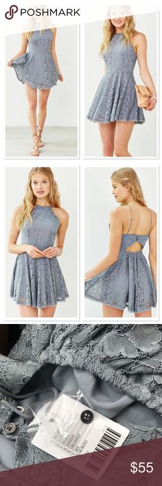 Kimchi blue Lorraine high neck fit n flare dress From urban outfitters brand new with tags attached fully lined with adjustable straps, A pretty blue lace. Urban Outfitters Dresses