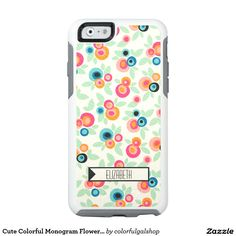 Cute Colorful Monogram Flower Pattern OtterBox iPhone 6/6s Case