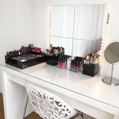 IKEA Malm dresser - all white beauty corner. Vanity organisation & clear makeup storage
