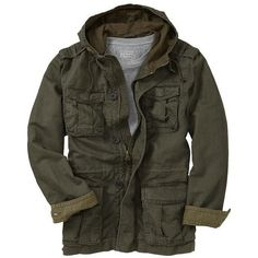 Old Navy Mens Hooded Military Jacket ($55) ❤ liked on Polyvore featuring men's fashion, men's clothing, men's outerwear, men's jackets, jackets, men, outerwear and coats