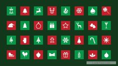 Christmas icons that have red and green background  free vector download