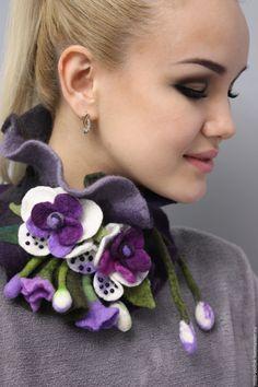 """Купить Шарф из шерсти """"Орхидея"""" (валяние) - тёмно-фиолетовый, цветочный, подарок, Валяние, цветы, орхидея"""