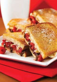 Brie Raspberry & Nutella Grilled Cheese!  Have mercy!