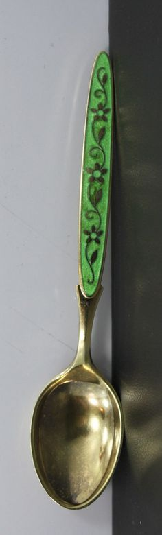 TH. Marthinsen Sterling Silver Enamel Demitasse Spoon Floral Design (Lime Green)
