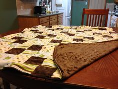 """Price: $30.00. Baby blanket. Quilted front """"frogs"""" brown bubble back measures 40 in  X 35 in MADE BY KRIS"""
